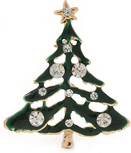 Holly Jolly Red Clear Austrian Crystals Christmas Tree Brooch// Pendant I Green