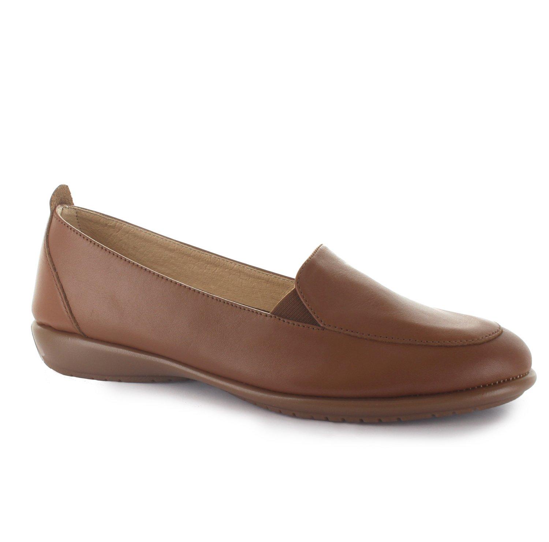 Joan Vass Linda Womens Nappa Leather Loafers Slip On Shoes Tan 36/5.5-6