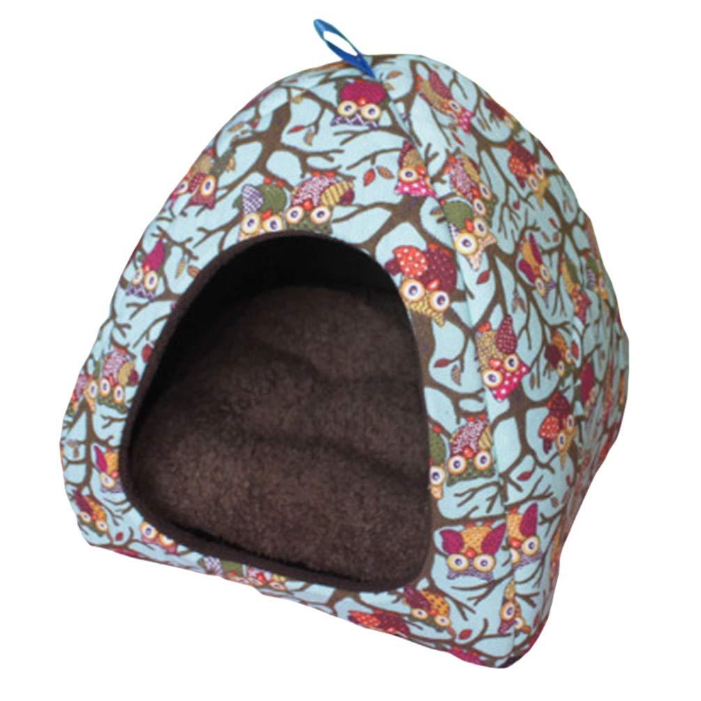 JEELINBORE Suave Perro Gato Casa Plegable Portátil Bonito Cama para Mascotas Pequeño (L: 40 * 40 * 40CM, Búho #Azul): Amazon.es: Hogar