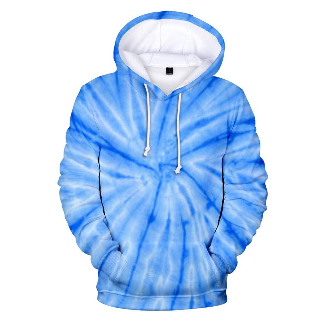 Vickyleb Sweatshirts for Men Hoodie Unisex Realistic 3D Print Galaxy Pullover Hoodie Funny Pattern Hooded Sweatshirts Pockets for Teens Jumpers Sky Blue by Vickyleb