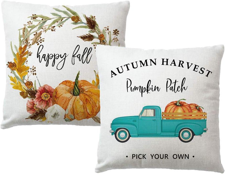 7COLORROOM 2Pack Happy Fall Throw Pillow Covers Autumn Harvest Pumpkin Flowers with Retro Blue Truck Cushion Cover Farmhouse Pumpkin Patch Decor Pillowcases 18
