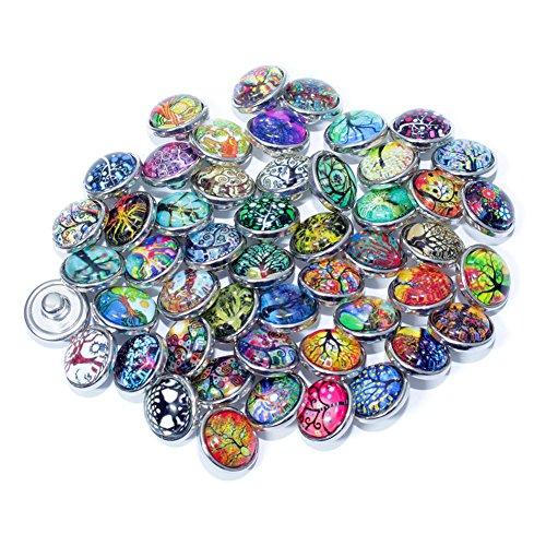 Soleebee click-button aluminium verre 12mm pression boutons femme Un groupe de 30 - Arbre de la vie