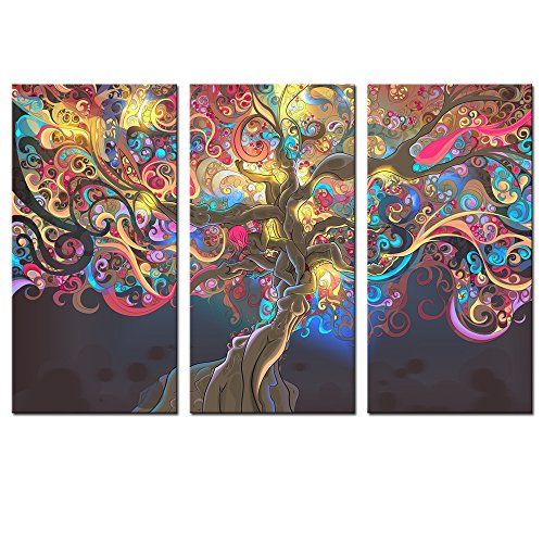 Sea Charm - Abstract Sex Women Canvas Wall Art Modern Lucky Tree Wall Art for Living Room,creative Picture Framed on Canvas,3 Panel Artwork for Wall Decor Ready to Hang by Sea Charm