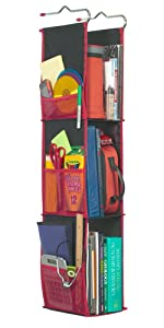 LockerWorks 3 Shelf Hanging Locker Organizer, 22-38 Inches Tall, Side Pockets, Suspends from Hooks, Shelf, or Closet Rod - Black/Red