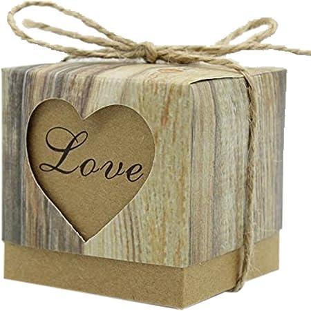 Caja cubo de cartón, motivo natural, jardín con forma de corazón, con cuerda de cáñamo. 50 unidades: Amazon.es: Hogar
