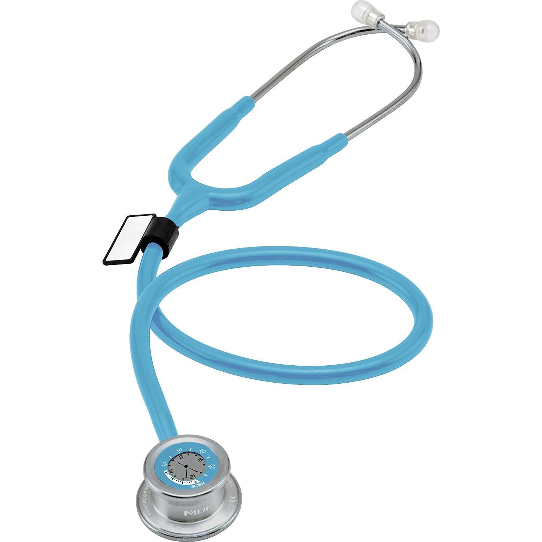 MDF Instruments Pulse Time MDF74003, Estetoscopio de una cabeza y reloj digital LCD 2 en 1, azul pastel