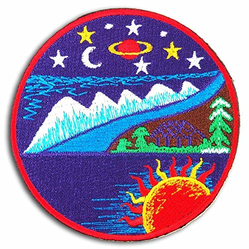 Sun Moon Stars Trees Ocean Mountain Hut Embroidered Iron on Patch