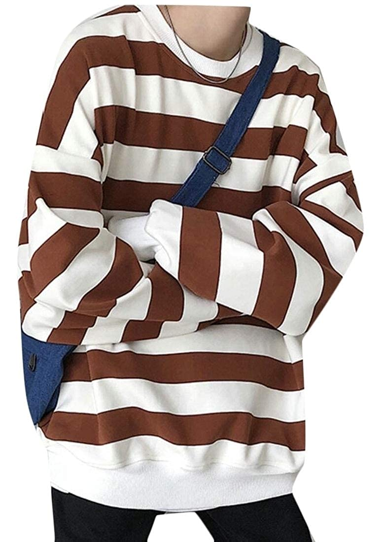 ouxiuli Mens Big and Tall Stripe Hooded Relaxed Fit Hoodies Fashion Pullover Sweatshirts