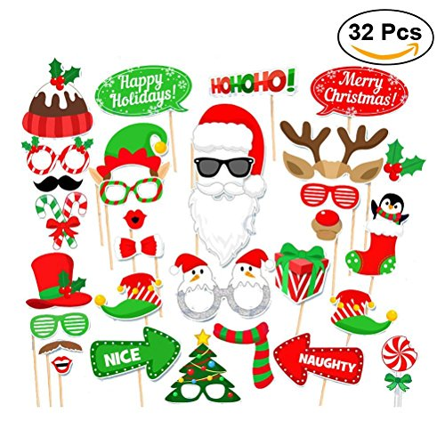 Christmas Photo Booth Props Creative Happy Christmas for Christmas Party Decoration 32pcs/set