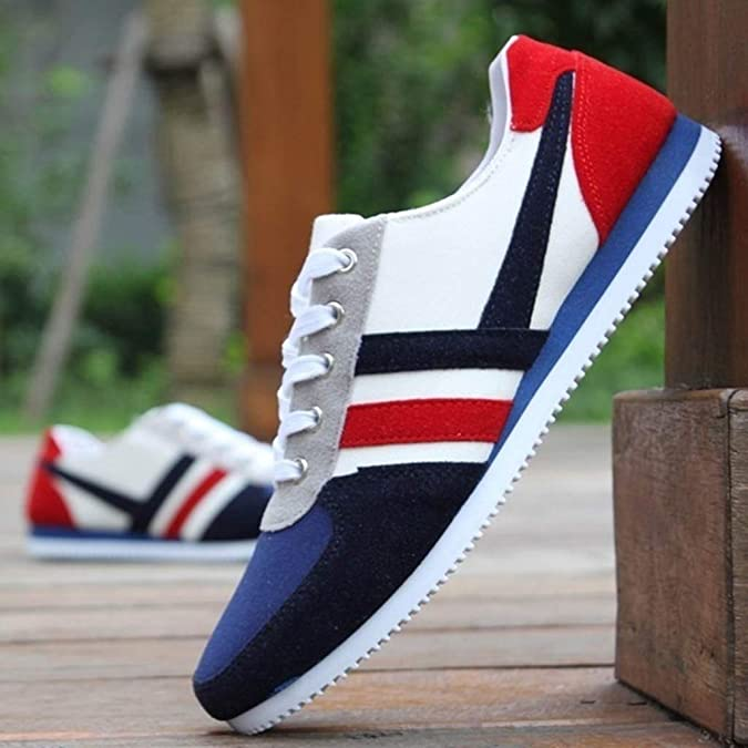 Amazon.com | Mens Sneaker Fashion Lace Up Sports Loafers Casual Sneakers Flat Canvas Shoes | Fashion Sneakers