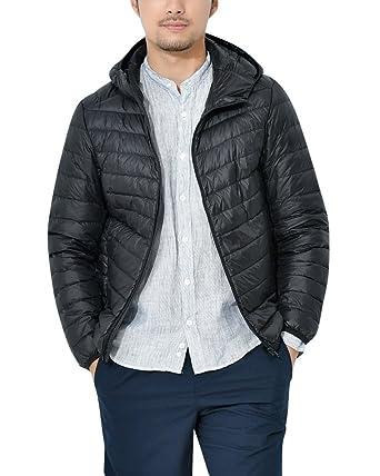 6212398d ZhuiKun Men's Lightweight Hooded Down Puffer Jacket Coat Packable Puffa  Jacket