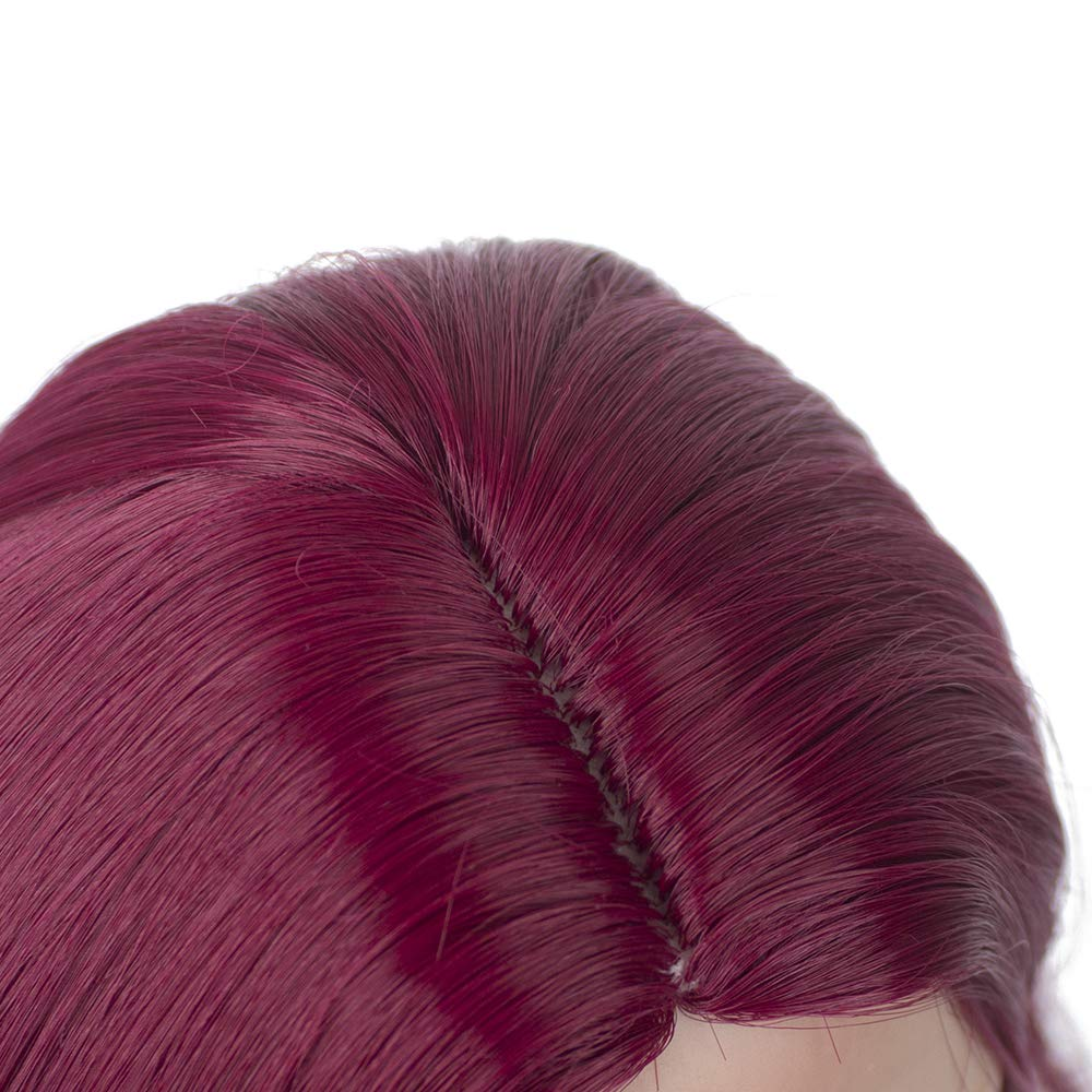 Purple and Red Long Wavy Curly Heat Resist Doll Wigs for 18 Dolls MUZI WIG Doll Hair
