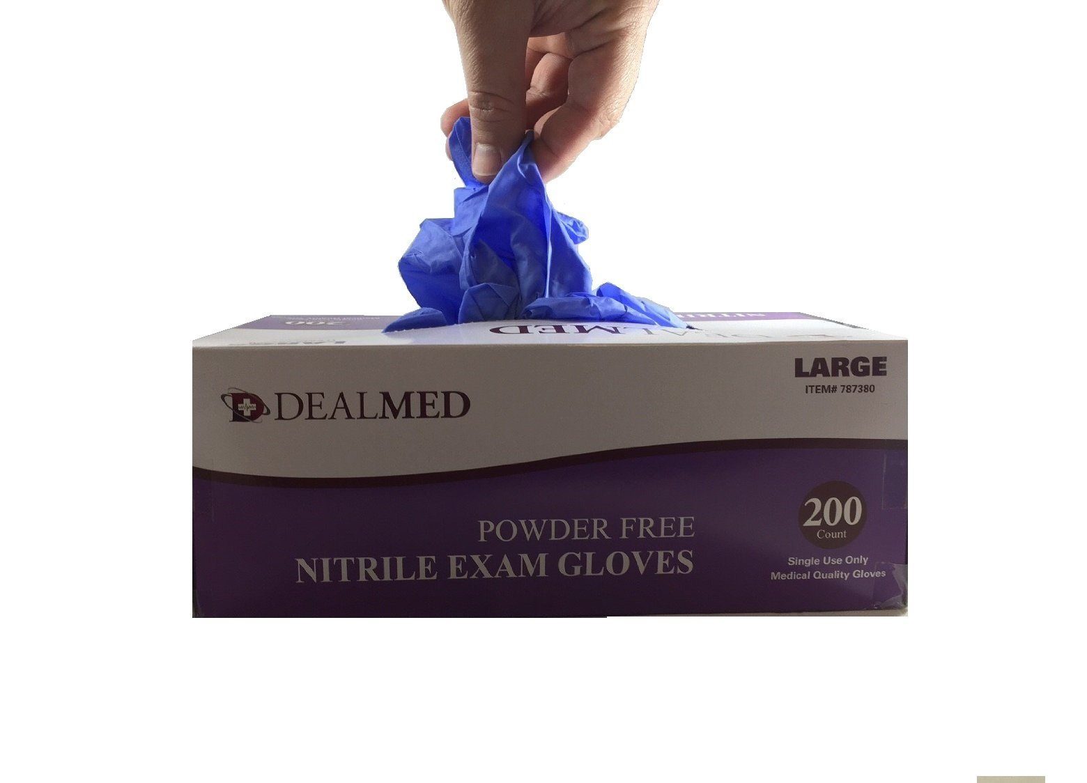 Disposable Nitrile Exam Powder Free Gloves, Case of 10 Boxes, 200 Count Each, Size Small by Dealmed (Image #3)