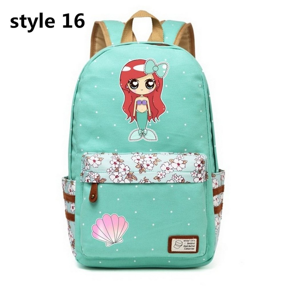 Mermaid Backpack Flowers Canvas bag Girls School Cartoon Mermaid Princess Unicorn (Style 16)