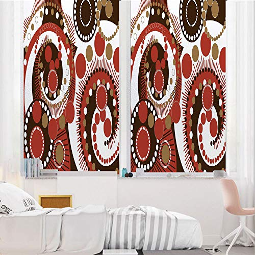 - Geometric 3D No Glue Static Decorative Privacy Window Films, Retro Colors Abstract Spiral Dots and Lines Modern Waves Artwork Decorative,17.7