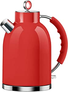 Electric Kettle, ASCOT Stainless Steel Electric Tea Kettle, 1.7QT, 1500W, BPA-Free, Cordless, Automatic Shutoff, Fast Boiling Water Heater - Red