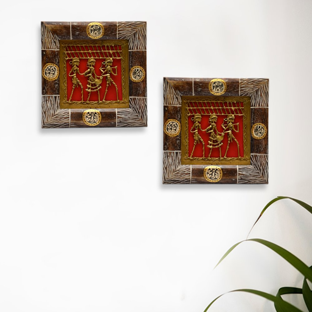 ExclusiveLane Dhokra Work & Warli Hanpainted Wall Decor Set in Wood -Indian Decorative Items for Home Gift Item Wooden Wall Art Decor Vases Home Decor