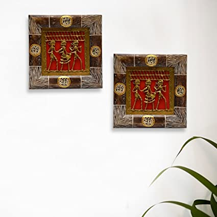Amazon Com Exclusivelane Dhokra Work Warli Hanpainted Wall Decor