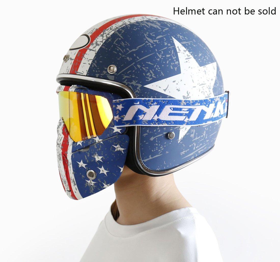 Amazon.com: NENKI Motorcycle Goggles Mask NK-1019US For 3/4 Motorcycle helmets And Retro Harley helmet, Detachable Mask, US Flag Style | Patriot ...