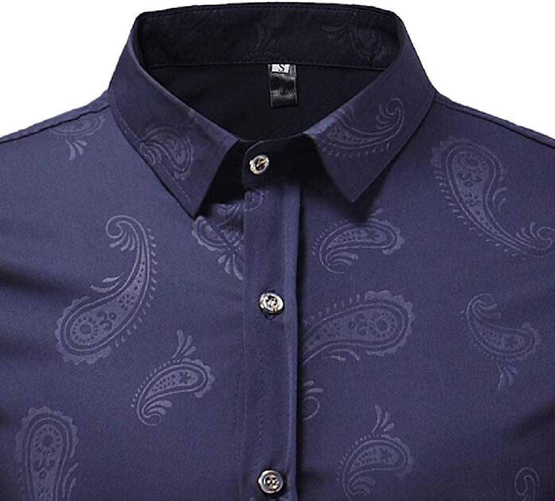 UUYUK Men Shirts Button Up Printing Business Casual Long Sleeve Dress Shirt Top