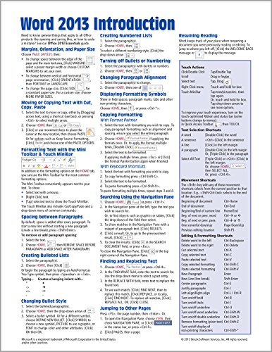 Microsoft Word 2013 Introduction Quick Reference Guide (Cheat Sheet of Instructions, Tips & Shortcuts - Laminated Ca