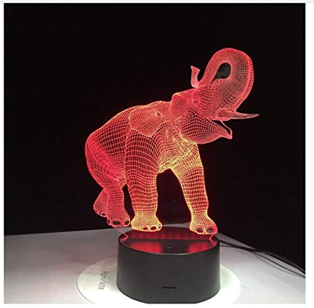 WJPDELP-YEDE Forma de Elefante Lámpara Lámpara Lámpara de Noche táctil Ilusión Asombrosa 3D LED Lámpara de Mesa Luz Nocturna con Animal 7 Cambio de Color e955e6