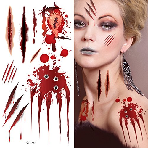 Supperb Temporary Tattoos - Bleeding Wound, Scar Halloween Halloween Tattoos (Set of -