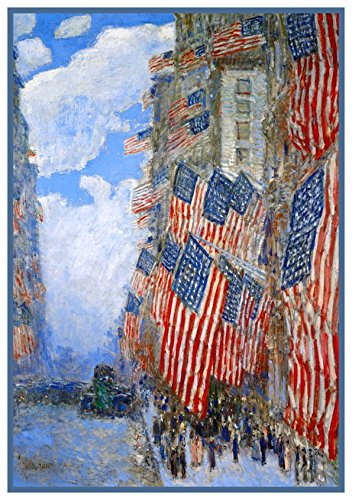 American Flags on July 4th by American Impressionist Painter Childe Hassam Counted Cross Stitch (Flag Cross Stitch)