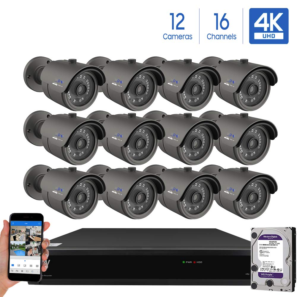 GW Security Cameras System 16CH 3840×2160 HD-TVI 4K CCTV DVR Recorder 4TB HDD with 12 Weatherproof 3840TVL 8.0MP 100ft Night Vision UltraHD 4K Bullet Surveillance Cameras, Email Alert with Snapshot
