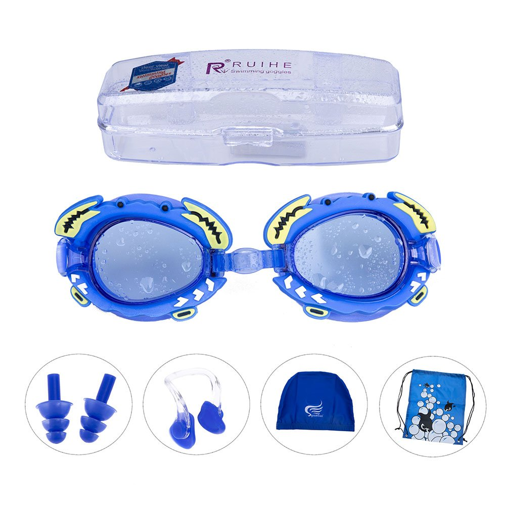 HOUSWOUKER Kids Swimming Goggles Set Youth Anti Fog UV Protection Swim Goggles Swimming Cap, Nose Clip, Ear Plugs and Carry Bag for Children, Boys and Girls Waterproof