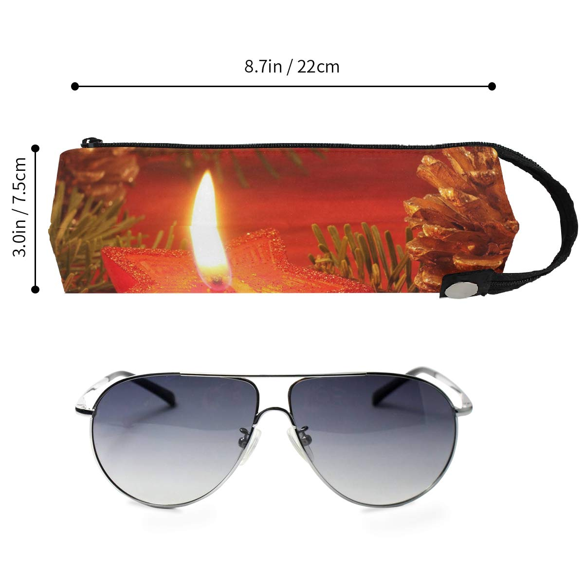 Glasses Case Christmas Star Candles Travel Soft Sunglasses Pen Bag Protective Box
