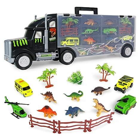 Camion Transportador de Coches Camión Transporte de Dinosaurios Juguete para Niños Helicópteros y Dinosaurios Juguetes Maletín