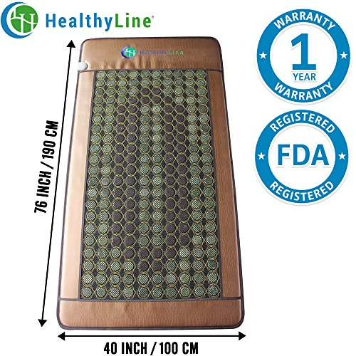 HL HEALTHYLINE - Far Infrared Heating Mat - 76inL x 40inW (X-Large and Firm) - Jade and Tourmaline Hot Stone - Negative Ions - Free Foil (Mini Jade Infrared Mat)