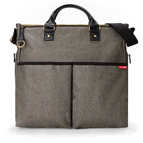(Skip Hop Duo Special Edition Carry All Travel Diaper Bag Tote with Multipockets, One Size, Black Cream Herringbone)