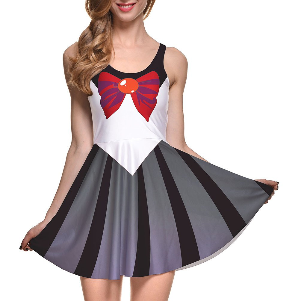 Lady Queen Women's Sailor Moon Cosplay Sleeveless Scoop High Waist Mini Dress