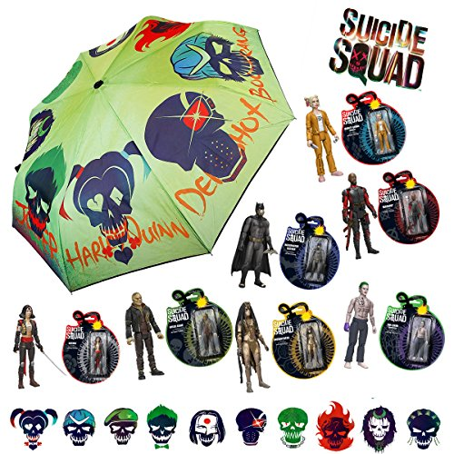 Funko Pop 8-Pack Bundle Suicide Squad Toys & Umbrella - Batman Deadshot Enchantress The Joker Katana Harley Quinn Killer (Captain America New Costume Marvel Now)
