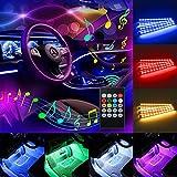 led lights in car - Car LED Strip Light, Komake 4 Pcs 48 LED Multicolor Music Car Interior Lights Underdash Car Mood Lighting Waterproof Kit with Sound Active Function(Wireless Remote Control+Car Charger),DC 5V