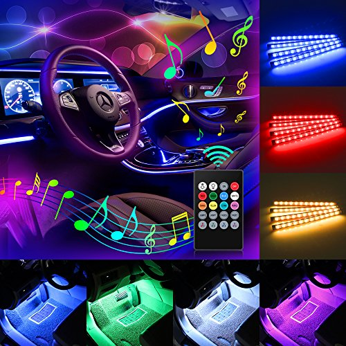 Car LED Strip Light, Komake 4pcs 48 LED Multicolor Music Car Interior Lights Underdash Car Mood Lighting Waterproof Kit with Sound Active FunctionWireless Remote Control+Car Charger,DC 5V