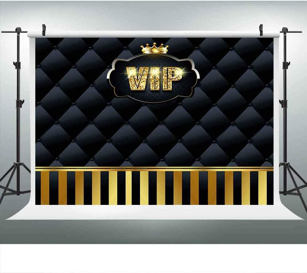 LUCKSTY Gold VIP Hollywood Backdrops for Photography 9x6FT Black Tufted Gold Stripes Backgrounds Events Step and Repeat Banner Props LUP575