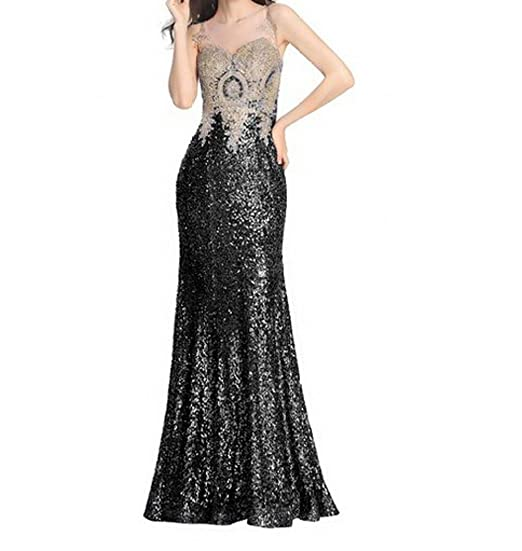 Leader of the Beauty Womens Sleeveless Bridesmaid Dress Mermaid Long Evening Dresses Black ...