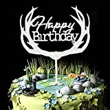 Happy Birthday Cake Topper First Birthday Paper Silver Glitter Cupcake Deer Topper Party Decorations (silver)