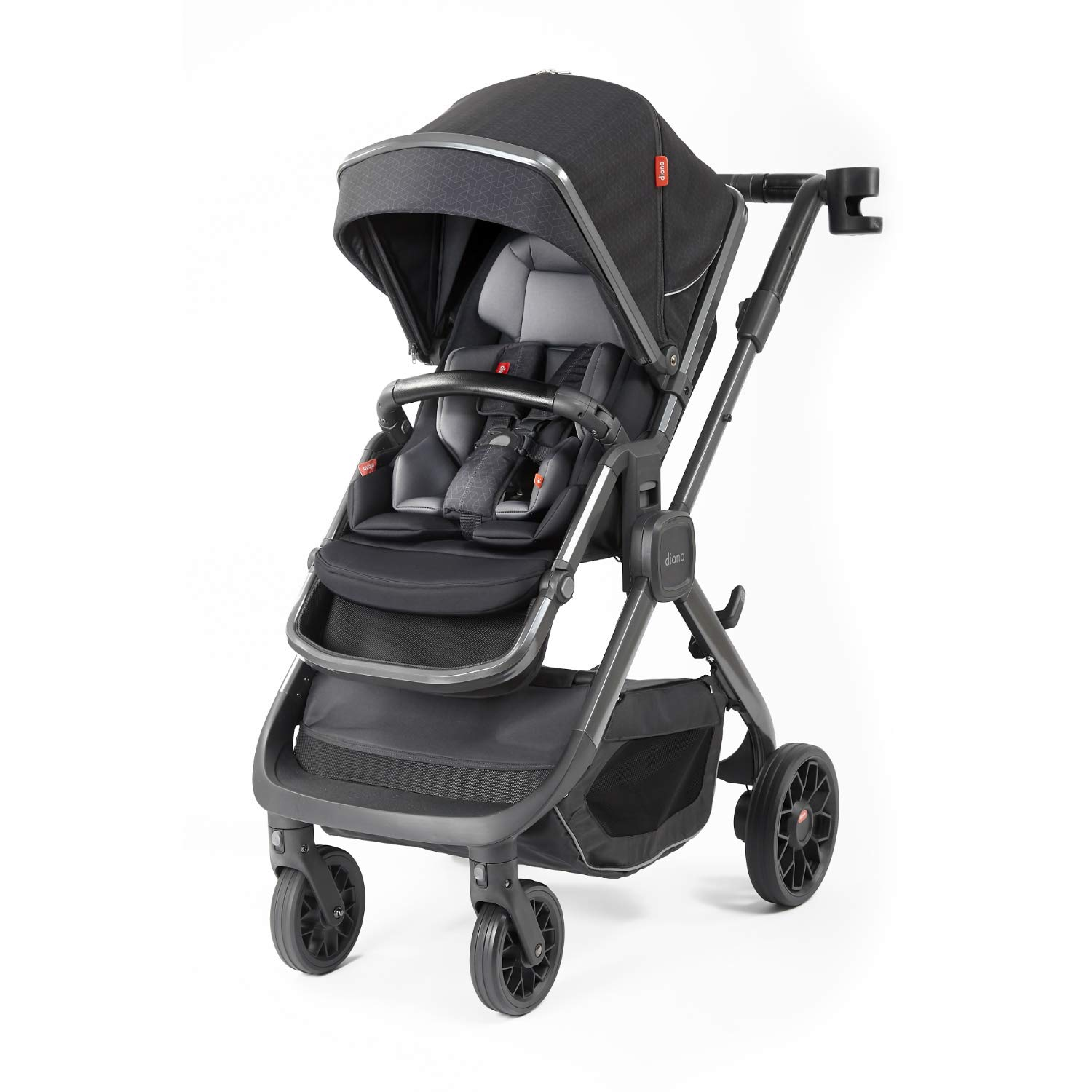Diono Quantum2, 3-in-1 Luxury Stroller, Black Cube