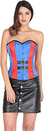 Red and Blue Satin Gothic Burlesque Corset Costume for Halloween Party Overbust