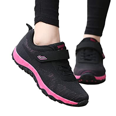 Suma-ma Womens Leisure Mesh Breathable Sport Shoes Non-Slip Elderly Flat Lightweight Casual