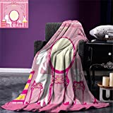 smallbeefly Girls Weave Pattern Extra Long Blanket Lady Sitting in front of French Cosmetic Make Up Mirror Furniture Dressy Design Custom Design Cozy Flannel Blanket Pink Yellow