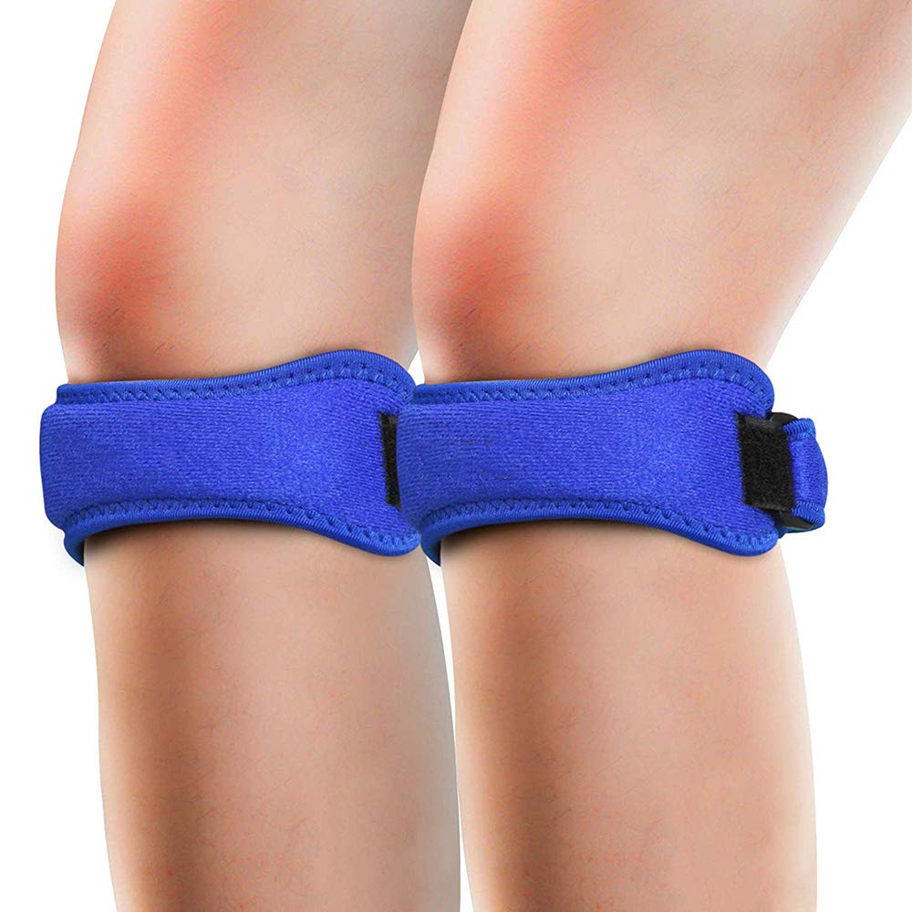 ALTINOVO Knee Pain Relief & Patella Stabilizer, 2 pc Knee Brace Strap for Hiking, Soccer, Basketball, Running,Blue