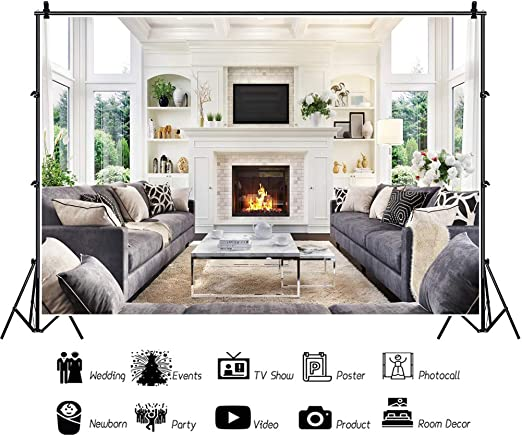 Yeele 10x7ft Vintage Living Room Interior Backdrop Old Sofa with Chandelier Photography Background Home and House Design Kid Adult Artistic Portrait Photo Shoot Props Vinyl Wallpaper