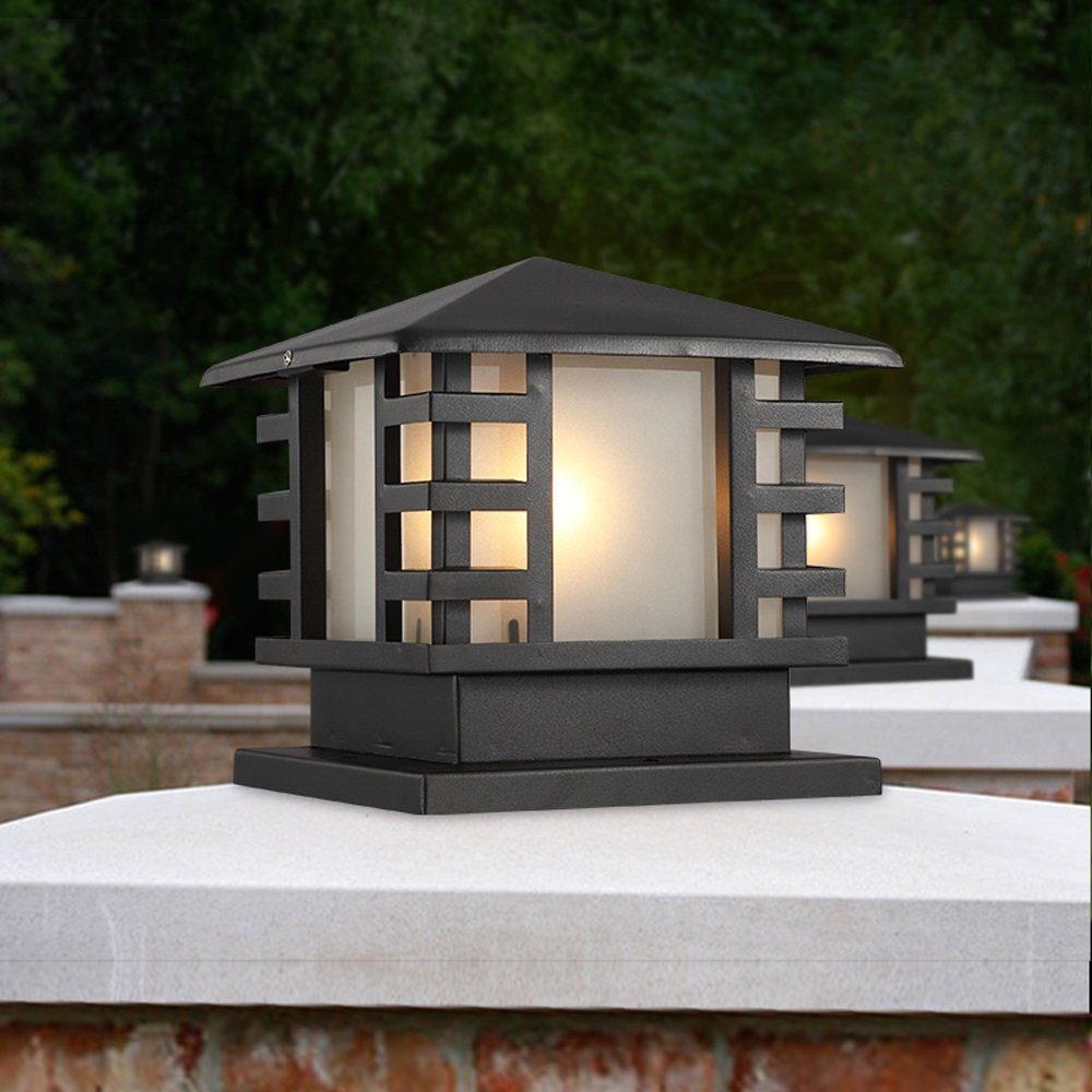 Modeen Continental Victoria Retro LED Outdoor Table Lamp Waterproof Villa Balcony Fence Column Lamp Desk Light Glass Aluminum Light Black E27 Decoration Garden Lights Lawn Lamp (Size : 36cm40cm)