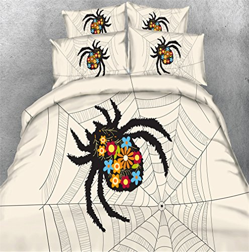 - Dodou spider Bedding Sets Soft and comfortable Bed Linens Bedding 50% Tencel and 50% Cotton Duvet Cover Sets 3pcs (Twin)