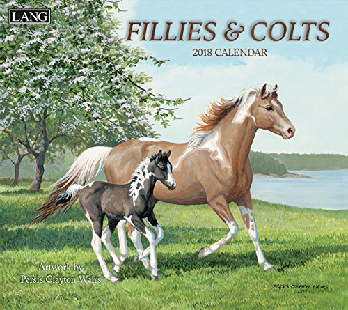 "LANG - 2018 Wall Calendar - ""Fillies & Colts"", Artwork by Persis Clayton Weirs - 12 Month - Open 13 3/8"" X 24"""